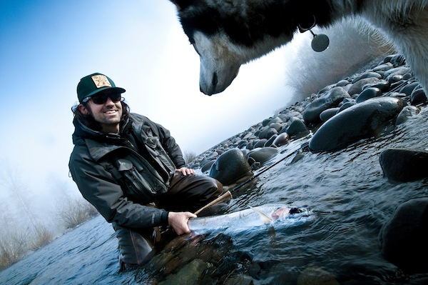 Ozzie checking out some winter steelhead. Looks good to him.