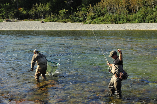 """When you're swinging flies for anadromous fish, there's no guarantee you'll connect. That is often true on eastern Canada's Atlantic salmon rivers. However, when everything comes together and you pull tight, and the fish stays on the line, and the guide deftly scoops with a net, there's no reason you shouldn't raise a fist high, embrace the accomplishment and say, """"Everything after this is gravy."""""""