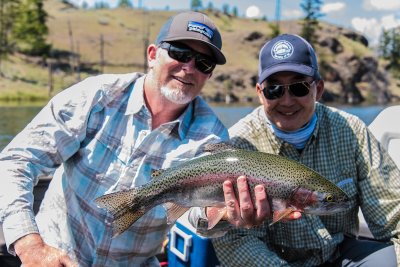The man, on the right, Brian Chan. We used the longest leaders known to man, fished chironomids deep, and pulled up scads of these British Columbia behemoths. A treasure day with an angler who deserves all the respect that he gets—Chan can fish. And he's just plain fun to hang with.