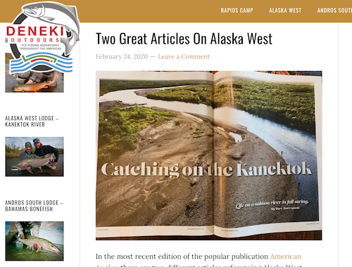 Deneki's shout out to American Angler and author Dave Karczynski for his wild article on swinging for kings on Alaska's Kanektok River.