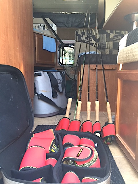 A friends arsenal, always strung in the back of the camper, ready to hit the river and throw. Yes, he's got issues.